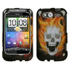 Blaze Skull HARD Protector Case Snap On Phone Cover for HTC Wildfire S
