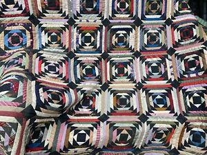 """Antique Hand Stitched Multi Colored Log Cabin Quilt Buggy Blanket Warm 87"""" X 80"""""""