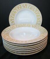 222 Fifth Avenue Vertoni Gold Mica 8 Rimmed Soup Bowl Gold & White Scrolls