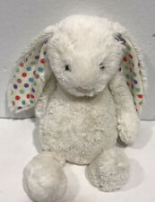 "Jellycat Medium Bashful Bunny Ivory white polka dot ears plush stuffed toy 12"""