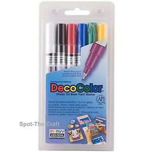Marvy Uchida DecoColor Paint Markers 6 Oil Pens Extra Fine Tip Primary 1234-6A
