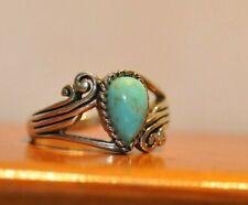 Beautiful Native American Ring Turquiose Signed BBJ