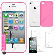 Housse Etui Coque Silicone Rose Apple iPhone 4S 4 + Mini Stylet + 3 Film écran
