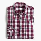 New J Crew Mens Slub Cotton Shirt Button Up Long Sleeve Plaid Red White NWT