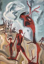 Vintage gouache painting surrealist portrait