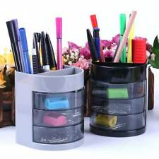 New Home Office Plastic Desk Tidy Stationery Pen Organiser Holder +4 Drawer Hot