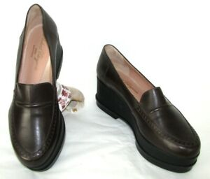 ROBERT CLERGERIE Wedges Sanel Brown Leather 38.5 New Dust Bag