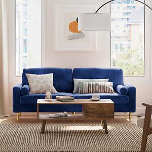 3-Sitzer Sofa Couch Bezug aus Samt Metallbeine Blau einfacher Aufbau VASAGLE