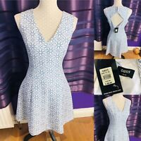 Womens OASIS Skater Dress Size 12 Sky Blue/White Open Back Party New Tags £65