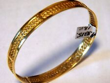 SOLID 18K Yellow Gold Filigree Bangle Bracelet ,T/W 22.4 Gr. W- 9.5 mm. T-1.2mm