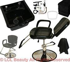 Reclining Hydraulic Barber Chair ABS Shampoo Bowl Sink Salon Hair Equipment