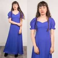 PURPLE MAXI DRESS 70'S BOHO VINTAGE SHORT PUFF SLEEVE FULL LENGTH CASUAL 10