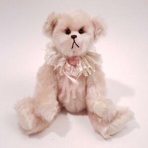 "Joan Woessner Artist Teddy Bear Mohair Hand Made Pink Candy Kisses 11"" Vtg"