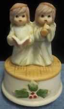 Vintage Porcelain Two Little Angels Musical Turns as it Plays Joy To The World