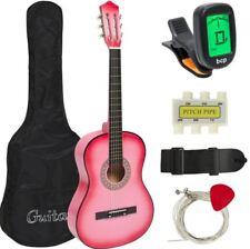 Kids Adult Girls Beginners Musician Acoustic Guitar Digital E-Tuner Set Pink Set