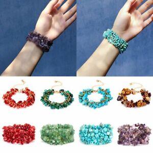 Charm Birthstone Bangle Natural Stone Crystal Gravel Wedding Bracelet Women Gift