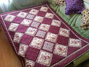 Quilted blanket. Patchwork bedspread. Handmade blanket. Maroon, cherry blanket