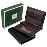 Mens Boxed Quality Leather Wallet by Visconti in Black Or Choc Brown