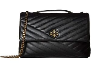 Tory Burch Kira Quilted Chevron Black Crossbody Shoulder Bag New Authentic