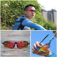 Polarisierte Sport Sonnenbrille 3 Wechselgläser Anti UV Radfahren Laufen Fahren