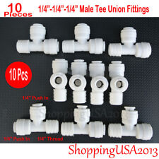 """10 Pieces 1/4""""-1/4""""-1/4"""" Male Tee Union Fitting Thread Push In Quick Connect RO"""
