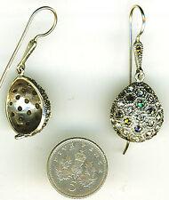 """925 Sterling Silver Marcasite Teardrop 1 Pce Hook & Eye Drop Earrings L 1.1/2"""""""