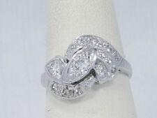 Vintage Estate 14K White Gold Retro Round Diamond Cocktail Ring Size 6.5