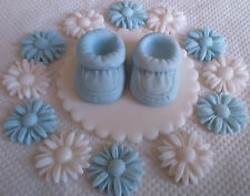 BABY BLUE BOOTEE CAKE DECORATION Edible cake topper Baby shower