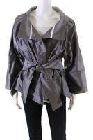 Armani Collezioni Womens Button Down Belted Metallic Jacket Silver Tone Size 16