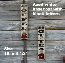 Coffee and Hot Tea Set Primitive Signs Wall Decor Rustic Signs Distressed Signs