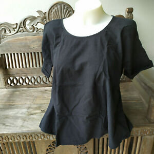 UNIQLO and LEMAIRE Short Sleeve  Flare Seersucker T-Shirt Blouse BLACK MED