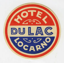 Antique Label Suitcase Hotel of / The Lake - Locarno, Old Luggage Label