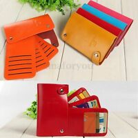 Unisex Card Holder Case Buckle Leather PU Lady Credit Card Purse Wallet Pocket