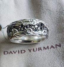 David Yurman Waves Sterling Silver Black Diamond R05790MSS 10.55mm 10.5 Ring NWT