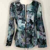 Isaac Mizrahi Live! Special Edition Floral Printed Leather Jacket NEW 12