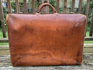 """Vintage 1930's Hartmann """"Knocabout"""" Leather Suitcase Luggage 24"""" x 7"""" x 17"""" - NR"""