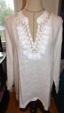 Lilly Pulitzer Amelia Island Tunic Womens XL Resort White Tassels Linen Top