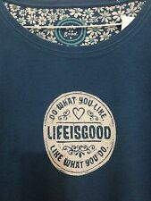"""LIFE IS GOOD WOMENS """"Do What You Like""""  T- SHIRT SIZE XXL 100% Cotton Blue"""