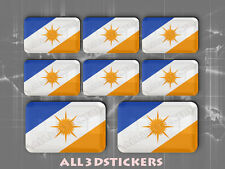 8 x 3D Stickers Resin Domed Flag Tocantins - Adhesive Decal Vinyl