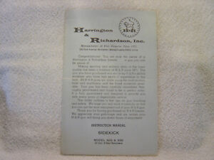 H & R HARRINGTON RICHARDSON SIDEKICK model 929 and 930 22 cal owner manual