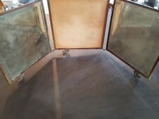 Antique Copper Framed Three Pane Panel Mirror