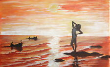 1989 Sunset seascape boats nude woman gouache painting signed