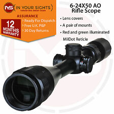 6-24x50 Rifle scope. Shockproof Adjustable objective lens gun scope incl mounts
