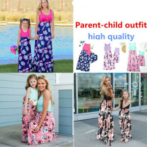 Family Matching Womens Girl Mother & Daughter Floral Beach Dress Casual Outfits