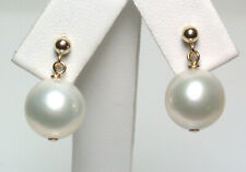 10.5mm AA++ quality round South Sea saltwater pearl & 9 carat gold earrings