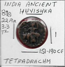 INDIA ANCIENT,HUVISHKA,TETRADRACHM (151-190 CE) KING STANDING,FACING,WITH ALTER
