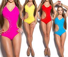 Monokini donna costume bagno mare intero cut borchie fluo sexy nuovo