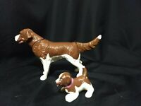 Springer Spaniel Or Setter Dog & Puppy Toy Lot Moves Tail Hard Plastic Figurines