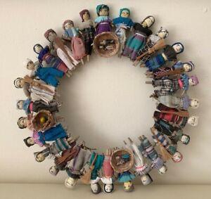 Vintage Latin American Cloth Wreath Folk Art of 28 Dressed Women Wall Hanging