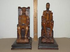 Carved Wood Bookends Figurine Don Quixote & Sancho Panza Wooden Figure
